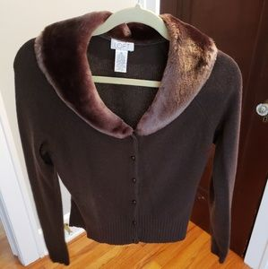 Loft faux fur wool cardigan